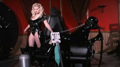 Blonde mistress bags her slave and gets her in latex to tease and torture her