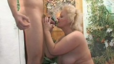 Fat mature blonde Vicky has some fun with a dildo before enjoying a stiff cock