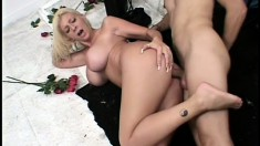 Curvy blonde squirter gives her backside up to a monster dong