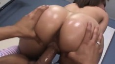 He oils up Tia's sweet ass then fucks her little pussy from behind