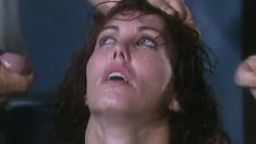 Sexy slim brunette Nancy Vee taking a hard shaft in each hole at once