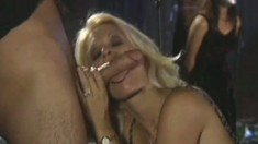 Busty blonde Brooke Hunter gets her holes licked and roughly drilled