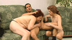 Two naughty mature ladies seduce a young guy and he takes care of their sexual needs