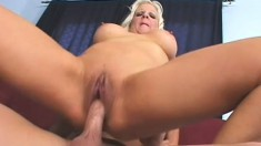 Big breasted blonde mom Veronica Vaughn is in need of a stiff cock deep in her cunt