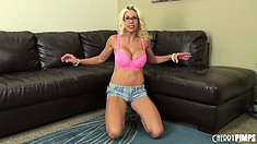 Busty blonde bitch, Puma Swede, teases as she slowly gets naked
