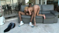 Wild blonde with a lovely ass Gia Garcia gets pounded by a black dude