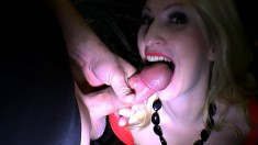 Slutty babes drop to their knees and get huge cumloads in their mouths