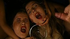 Sweet young babes getting their pretty faces covered with piss and cum