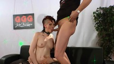 Barely legal punk bitch gets her mouth fucked and filled with cum