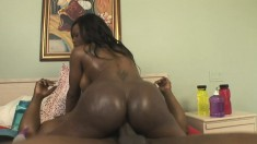Voluptuous ebony cougar Jada Fire takes a black stick up her fiery ass