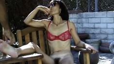 Insatiable bimbo Song goes outside and takes her panties off