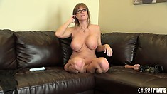 Cougar with glasses fucks herself until she can't take no more