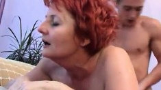 Mature Redhead Blows, Gets Drilled And Spreads Her Pussy Lips