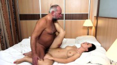 Kinky old man gives a gorgeous young brunette the hot fuck she needs