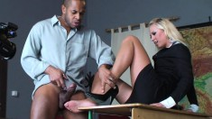 Slutty blonde gets bent over and fucked by two well-endowed guys