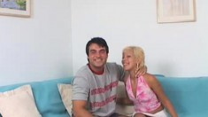 Blonde chomps on his dick, fist fucks herself and gets peed on