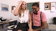 Hot blonde teacher Julia Ann seduces her student in order to fulfill her fantasies