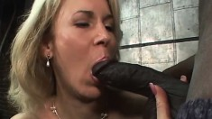 Elegant business lady with perky boobs feeds her hunger for black meat