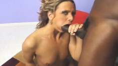 Enticing blonde with a divine ass expresses her passion for black meat