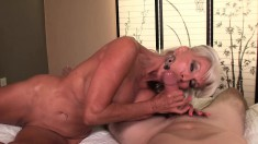 Muscled Blonde Cougar With Big Tits Goes Down Low For A Hot Blowjob