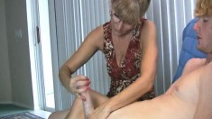 Horny Mature Jessica Sexton Stimulates An Erect Dick With Her Talented Fingers
