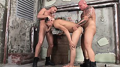 Joshua Rodgers, Devil, and Ted Potter in an outside threesome fucking
