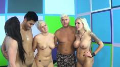 Three magnificent pornstars enjoy lesbian sex and please a lucky fan