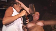 Party Girls Have A Few Drinks, Expose Their Bodies And Kiss Each Other