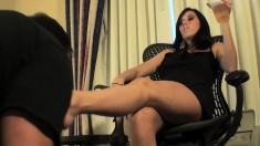 Elegant Brunette In High Heels Has A Kinky Guy Licking Her Lovely Feet