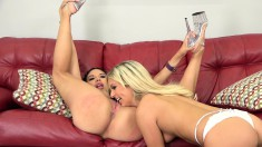Blonde And Brunette Beauties Share A Myriad Of Sex Toys On The Couch