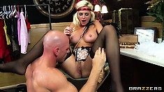 Big-ass vintage blondie gets her shaven pussy destroyed by a monster cock