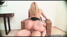Hot blonde Alexis shows off her ass as he jams his cock in her