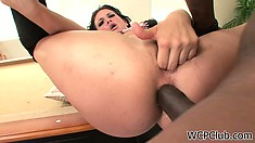 Brunette momma fingers her snatch with a big black boner up her ass
