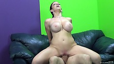 Fabulous stacked lady with a big round ass sucks and fucks a big cock with desire