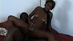 Gorgeous black babe with amazing tits Gen Tilly gets pounded deep and hard on the bed