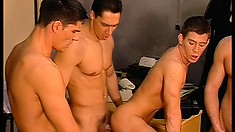 Four hot guys exchange blowjobs and indulge in hardcore anal sex