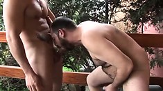 On the porch, a hot young dude drills a hairy guy's anal hole hard and deep