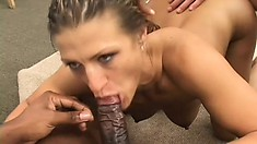 Skinny blonde MILF gets to feel the heat from black monster cocks