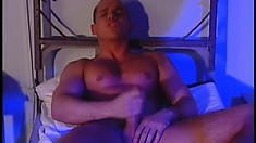 Evil military man wants to seduce his muscular partner and lick his balls