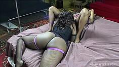 Miss C and Nina Fierce take turns munching on that tasty chocolatey pussy
