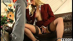 Seductive blonde milf Alana has a horny young stud pounding her hungry cunt hard
