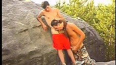 Eager stud is pricked by his well-endowed partner in the woods