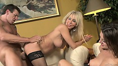 Ever-horny cougar is more than eager to check her daughter's BF's cock out