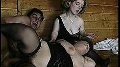 Dark-haired stallion is boffing cute pussies of hot midget girls