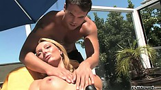 Stacked blonde cougar Brenda James wildly fucks Rocco Reed's long cock