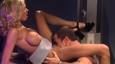 Stacked blonde with sexy long legs Brianna Banks loves rough anal sex