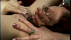 Lustful mature lady indulges in lesbian action with a sweet young girl
