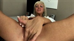 Kind and sexy blonde girl palms her sweet cooze and sticks pink dildo inside