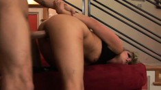 Marvelous blonde in black boots has a huge cock deeply banging her twat