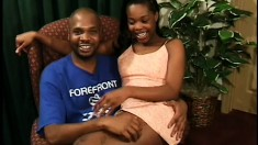 A black cutie gets her man hard and ready to nail her snatch
